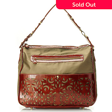 710-503 - Sondra Roberts Zip Top Laser Cut Patent Nylon Hobo Bag