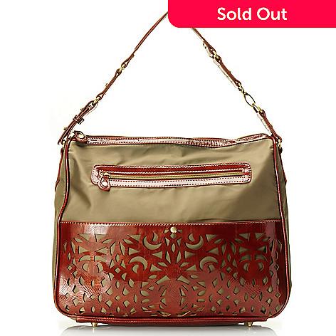 710-503 - Sondra Roberts Zip Top Laser Cut Patent Nylon Hobo Bag