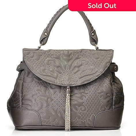710-504 - Sondra Roberts Trapunto Stitch Metallic Tassel Satchel Bag