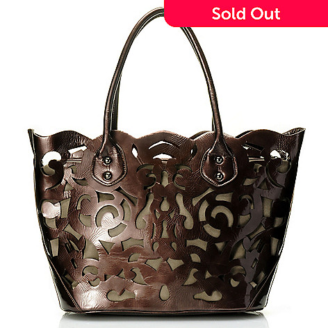 710-508 - Sondra Roberts Zip Top Laser Cut Crinkled Patent Tote Bag