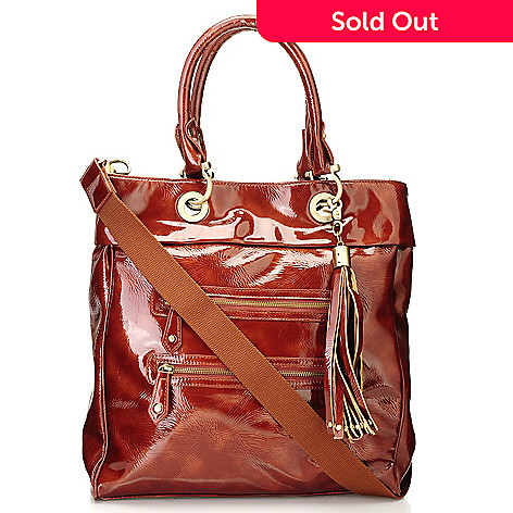 710-509 - Sondra Roberts Crinkled Patent Tote Bag w/ Detachable Shoulder Strap