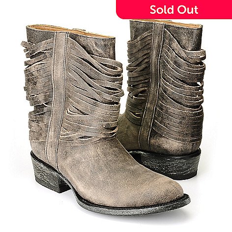 710-515 - Matisse® Leather ''Slash'' Fringe Detailed Short Boots