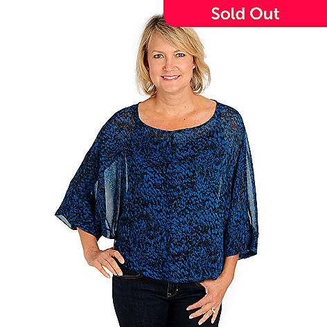 710-546 - aDRESSing WOMAN Printed Georgette Dolman Sleeved Blouse w/ Knit Layer Camisole