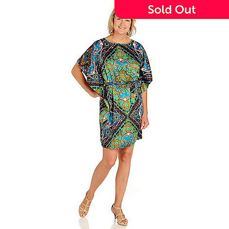 710-548 - aDRESSing WOMAN Printed Charmeuse Flutter Sleeved Caftan Dress w/ Tie Belt