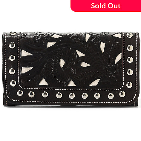 710-554 - American West Hand-Tooled Stud Detailed Wallet