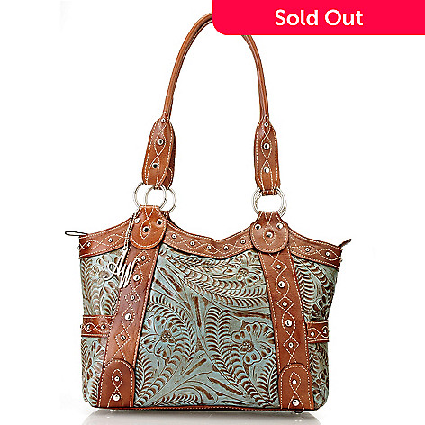 710-557 - American West Hand-Tooled Leather Zip Top Tote Bag