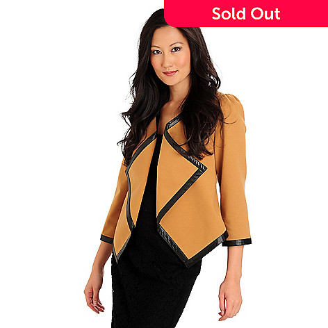710-571 - WD.NY V-Neck Asymmetrical Front Faux Leather Trimmed Ponte Jacket
