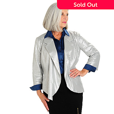 710-574 - WD.NY 3/4 Sleeved Open Front Sequined Jacket