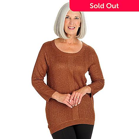 710-576 - WD.NY Knit Metallic Stitch 3/4 Sleeved Hi-Lo Sweater
