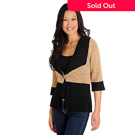 710-579 - WD.NY Elbow Sleeved One-Button Color Block Cardigan