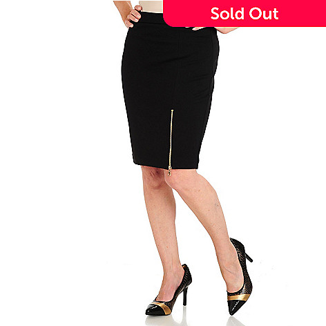 710-583 - WD.NY Fitted Zipper Vent Ponte Skirt