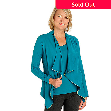 710-592 - Kate & Mallory® Stretch Cotton Open Cascade Front Cardigan & Tank Set