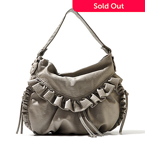710-603 - Red by Marc Ecko ''Dusk Til Dawn'' Ruffle Detailed Zip Top Hobo Handbag