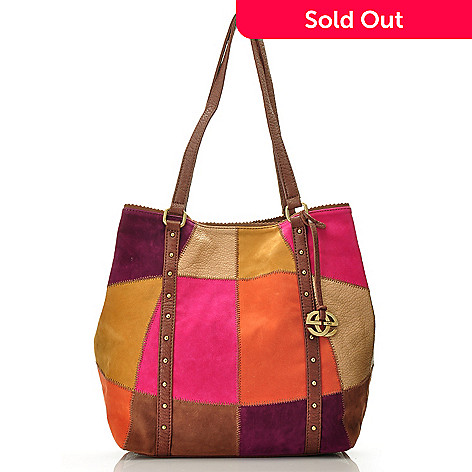710-606 - Red by Marc Ecko ''Patchouli'' Patchwork Detailed Double Handled Shoulder Tote Bag