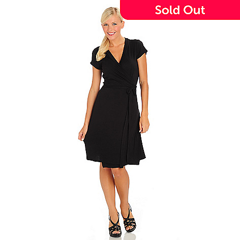 710-624 - Fever Stretch Knit Cap Sleeved Solid Color Wrap Dress