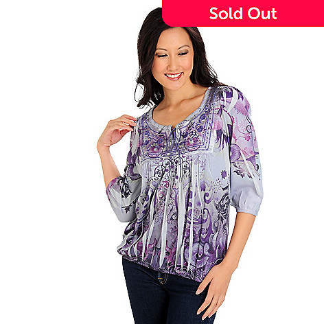 710-629 - One World 3/4 Sleeved Scoop Neck Printed Knit Peasant Top