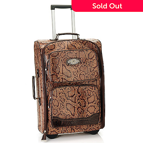 710-648 - Madi Claire Snake Print & Crocodile Embossed Rolling Suitcase