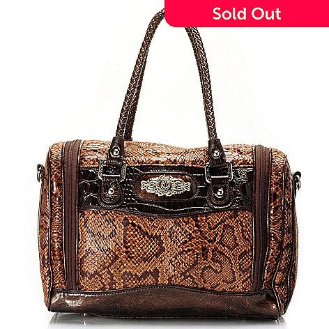 710-649 - Madi Claire Snake Print & Crocodile Embossed Travel Bag