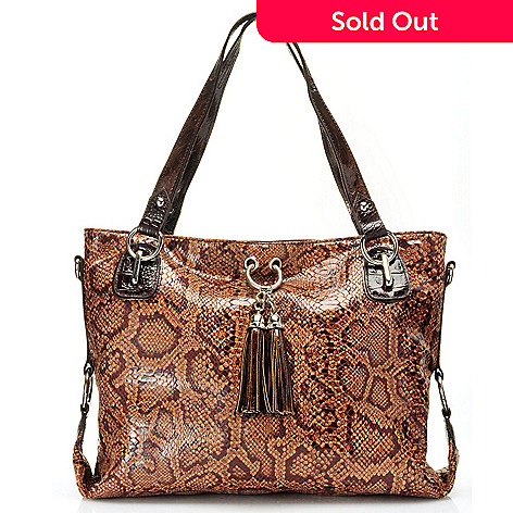 710-650 - Madi Claire Snake Print & Crocodile Embossed Tassel Zip Top Tote Bag
