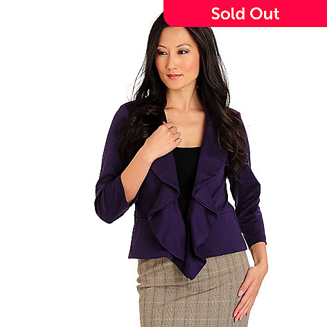 710-652 - Kate & Mallory Stretch Ponte 3/4 Sleeved Hook & Eye Closure Ruffle Jacket