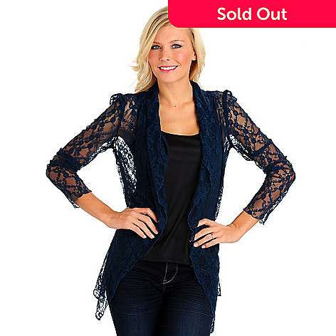 710-656 - Kate & Mallory® Long Sleeved Drape Front Solid Lace Cardigan