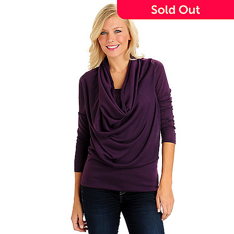 710-658 - Kate & Mallory® Sweater Knit Long Sleeved Drape Cowl Neck Banded Bottom Knit Top