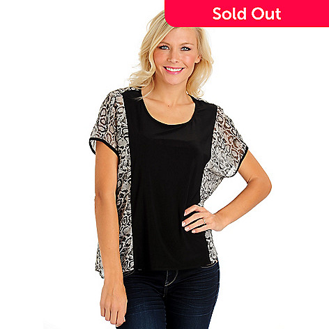 710-659 - Kate & Mallory® Printed Chiffon Solid Jersey Short Sleeved Scoop Neck Top