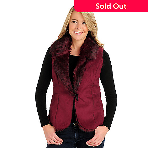 710-669 - Kate & Mallory Faux Fur Toggle Closure Reversible Vest