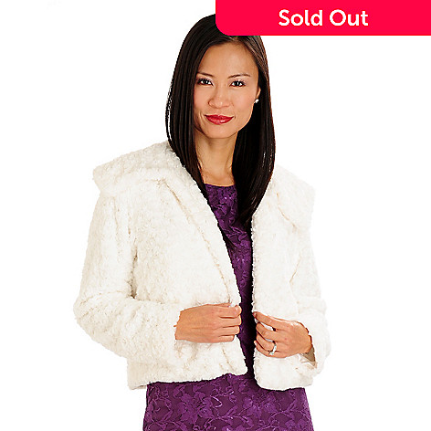 710-670 - Kate & Mallory® Rosette Faux Fur Fold-over Collar Fully Lined Jacket