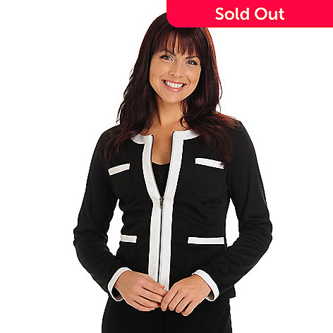 710-672 - Kate & Mallory Long Sleeved Scoop Neck Zippered Front Contrast Cardigan