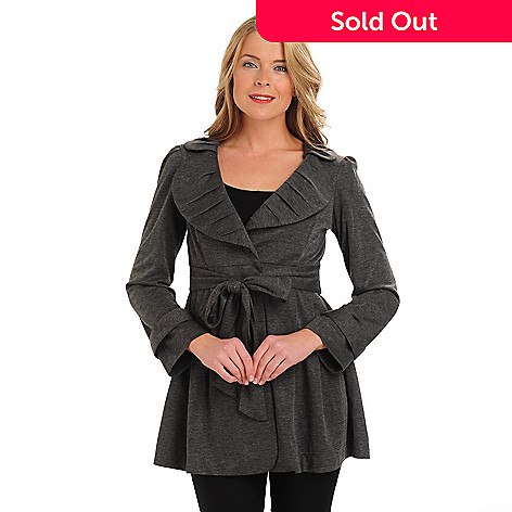 710-674 - Kate & Mallory Sweater Knit Pleated Detail Tied Front A-Line Coat