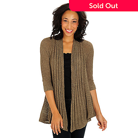 710-701 - Kate & Mallory Ribbed Knit 3/4 Cuffed Sleeves Crocheted Back Sweater Cardigan