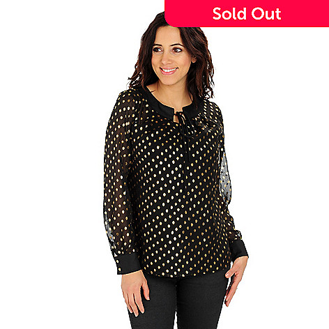 710-719 - Glitterscape Long Sleeved Scoop Neck Glitter Dot Blouse w/ Knit Camisole
