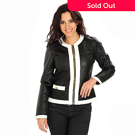 710-730 - Baccini Zip-Up Contrast Trimmed Faux Leather Collarless Jacket
