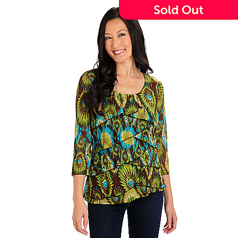 710-736 - Kate & Mallory® 3/4 Sleeve Scoop Neck Printed Mesh Ruffle Top