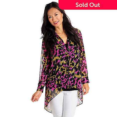 710-757 - Kate & Mallory® Printed Hi-Lo Hem Sheer Blouse & Tank Top Set