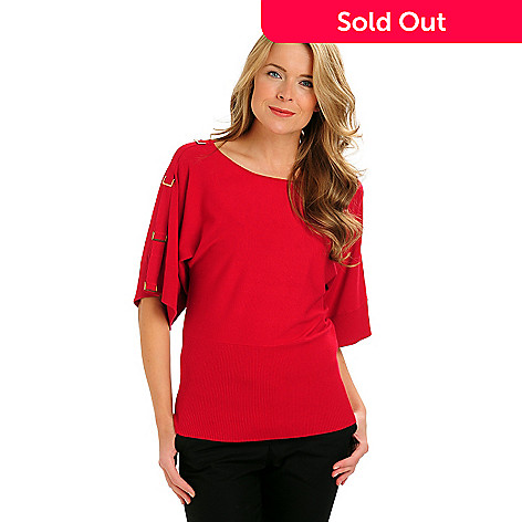 710-760 - Kate & Mallory® D-Ring Accented Dolman Sleeve Banded Bottom Sweater Top