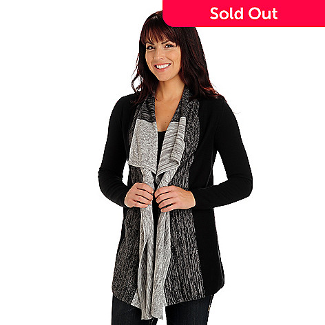 710-762 - Kate & Mallory Long Sleeved Drape Front Space Dye Cozy