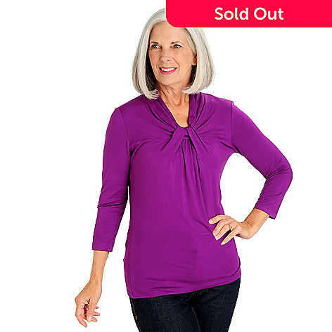 710-765 - Kate & Mallory® Stretch Knit 3/4 Sleeved Twist Neck Top