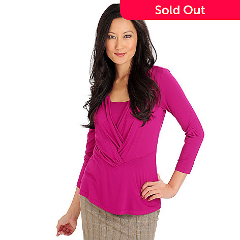 710-766 - Kate & Mallory Stretch Knit 3/4 Sleeved Scoop Inset Wrap Overlay Top