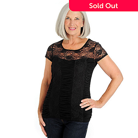 710-768 - Kate & Mallory® Short Cap Sleeved Scoop Neck Ruched Lace Top
