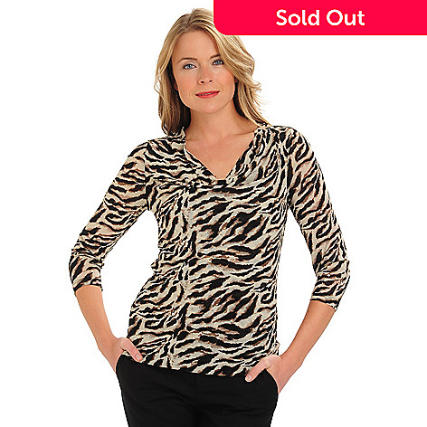710-769 - Kate & Mallory® 3/4 Sleeved Drape Neck Animal Print Mesh Top