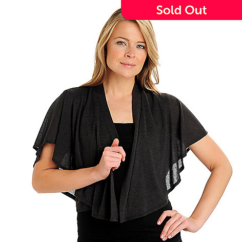 710-782 - Kate & Mallory® Stretch Knit Flutter Sleeved Open Front Shrug