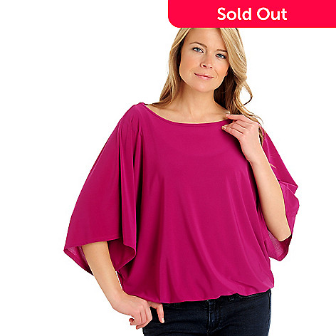 710-784 - Kate & Mallory® Crepe Dolman Sleeved Wide Scoop Neck Blouson Top
