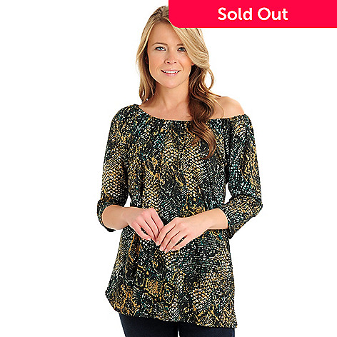 710-786 - Kate & Mallory® Stretch Knit 3/4 Sleeved Elastic Scoop Neck Printed Tunic