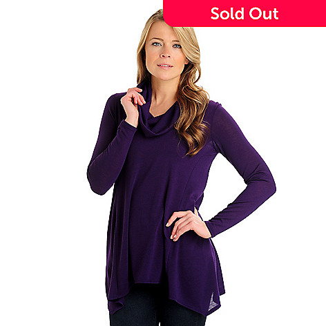 710-787 - Kate & Mallory® Stretch Knit Long Sleeved Cowl Neck Tunic