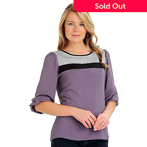 710-789 - Kate & Mallory® Color Block Crepe 3/4 Sleeved Scoop Neck Blouse