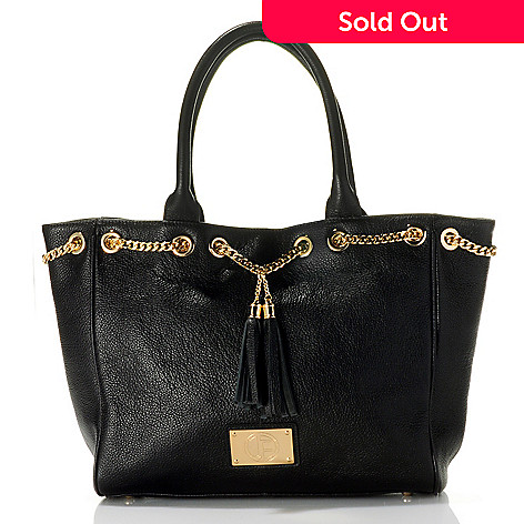 710-796 - Jack French London Leather Double Handle Tassel & Chain Detailed Tote Bag