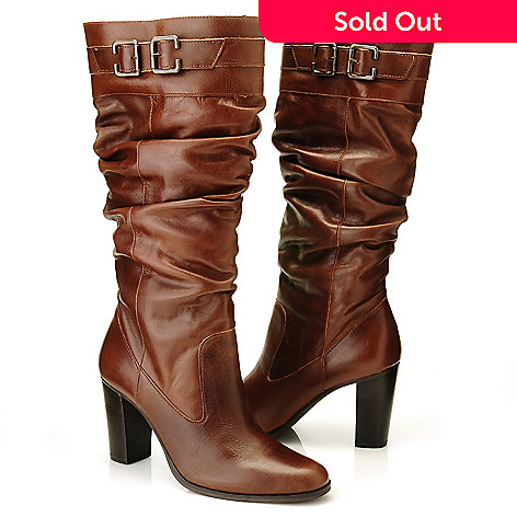 710-799 - Matisse Leather Buckle Detailed Slouchy Knee-High Dress Boots