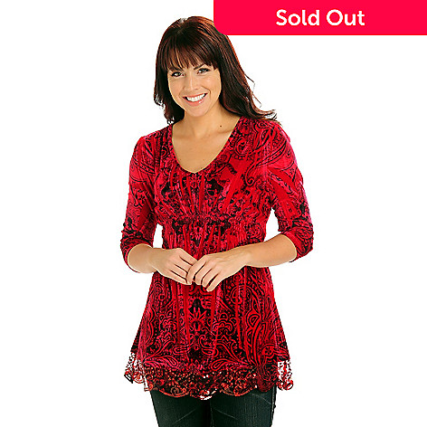 710-805 - One World 3/4 Sleeved Smocked Waist Sequin Trimmed Velvet Top